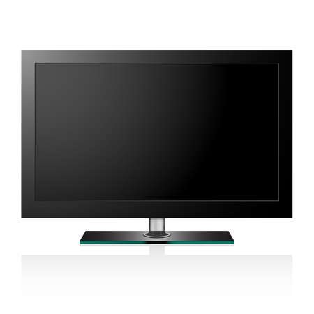 flat screen tv: Vector illustration of TV flat black screen lcd