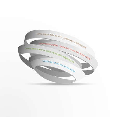 3d white rings. Vector EPS10