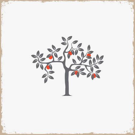 appletree: Silhouette of apple-tree on grunge background. Vector EPS10 Illustration