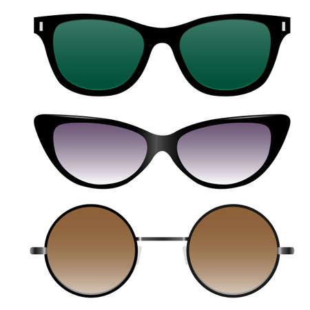 Vector set of sunglasses in retro style