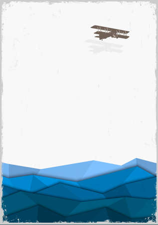 Silhouette of retro airplane with origami waves. Stock Vector - 23660105