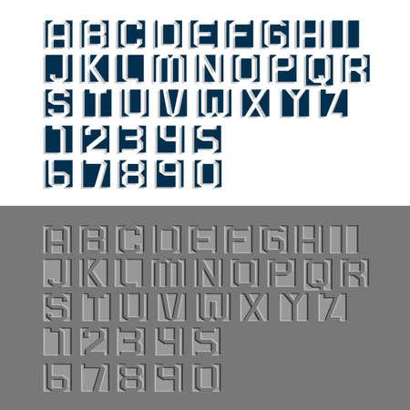 두 개의 다양한 새겨진 알파벳 문자와 숫자. 벡터 설정 일러스트