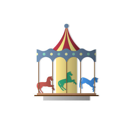 Vector Carousel with horses Vector