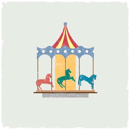 Vintage merry-go-round with horses.
