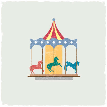 Vintage merry-go-round with horses.  Vector