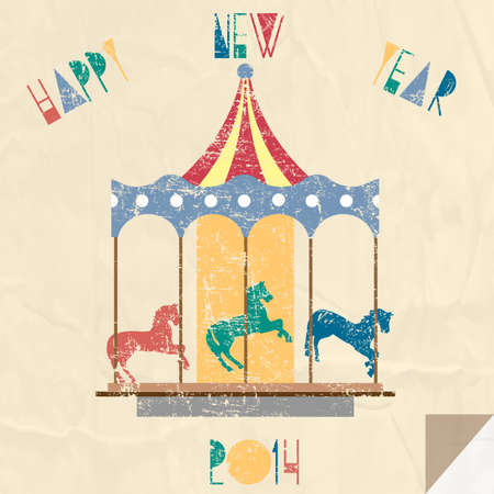 Vintage New Year card with carousel - 2014 year of horse.  Vector