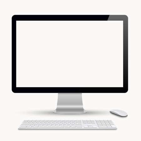 키보드와 컴퓨터 마우스와 모니터. 벡터 현실적인 그림