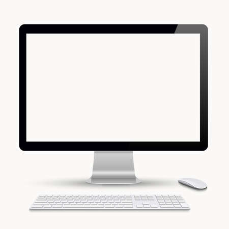 Monitor with keyboard and computer mouse. Vector realistic illustration