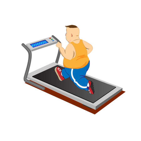 Overweight men running on a treadmill.Vector Illustration Vector