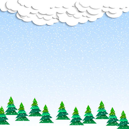 Paper winter wood. Christmas vector background Vector