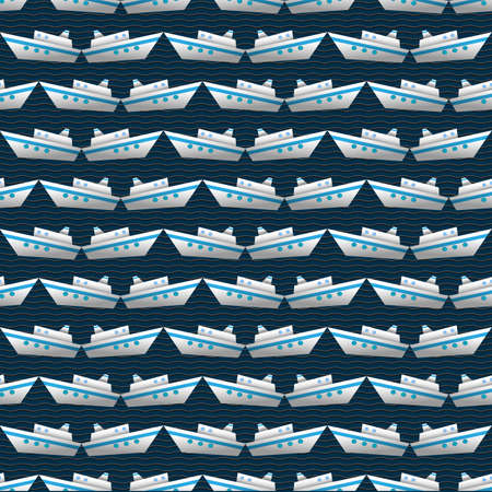 Seamless  vector pattern with yachts Vector