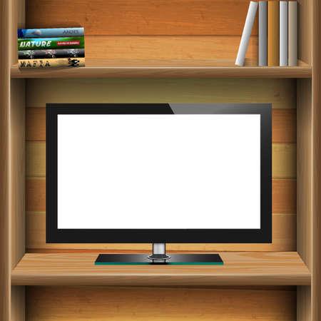 �tag�re bois: T�l�viseur grand �cran lcd sur le plateau en bois avec des livres. Vecteur EPS10