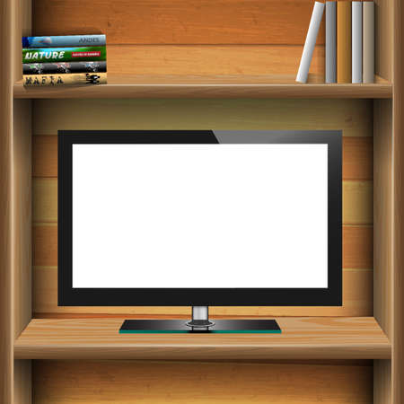 TV widescreen lcd monitor on wooden shelf with books. Vector EPS10 Vector