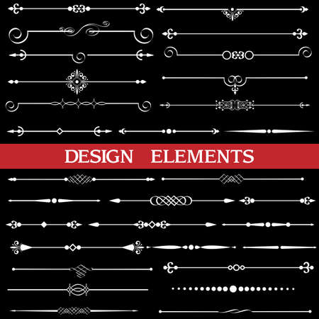Vector set of calligraphic borders and page decor