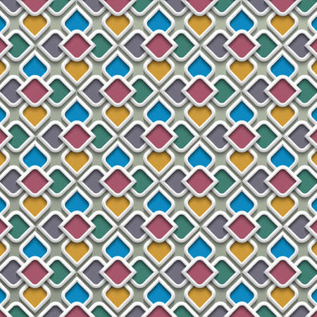 3d colored seamless pattern in islamic style.Vector background