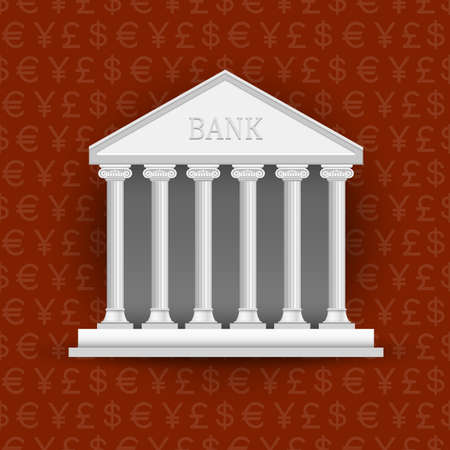 Bank building on background of symbols currency. Vector