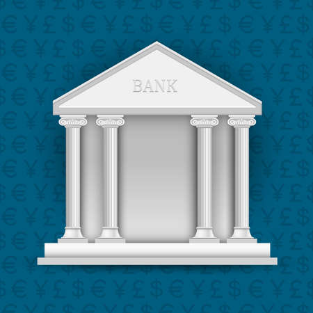 bank building: Bank on background of symbols currency.