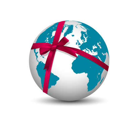Planet Earth with bow red ribbon  Vector Vector