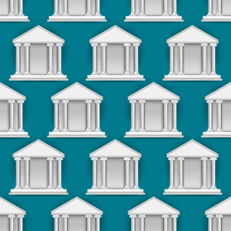 Vector seamless pattern of  buildings banks Vector