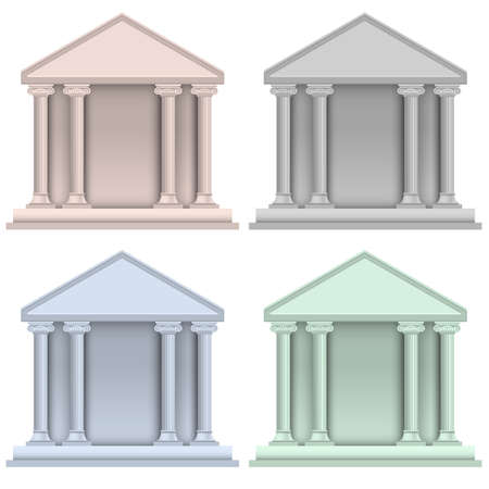 bank building: Vector set of building bank icons Illustration