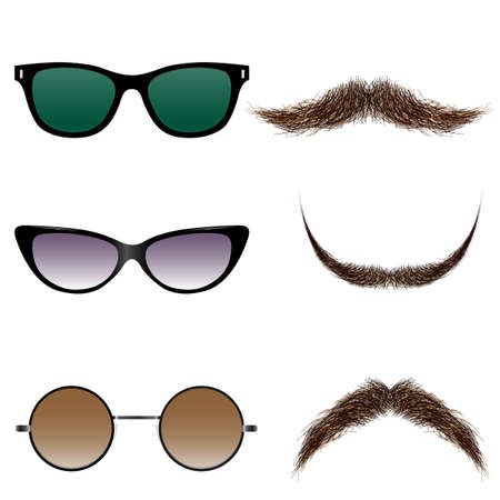 Vector set of glasses and mustaches Stock Vector - 24901797