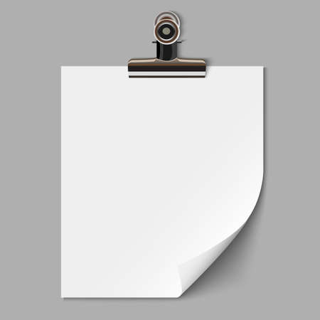 clamps: Blank sheet of paper with clamp