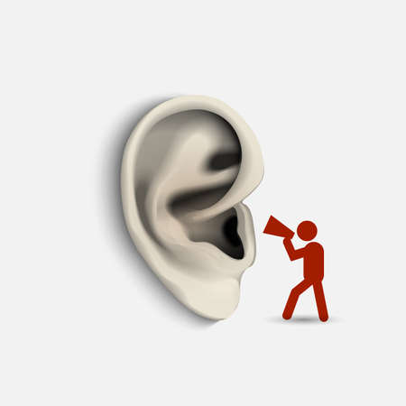 masses: Ear and icon man with megaphone  Conceptual vector illustration