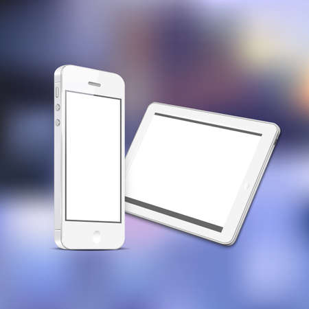 White digital tablet PC with white mobile smartphone. Vector EPS10  Vector