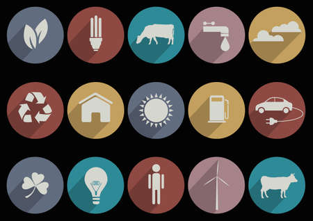 Flat Icons of web and mobile applications for ecology theme  collection Vector