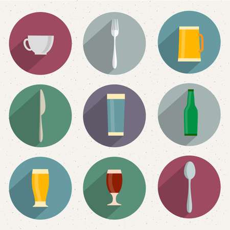 coffeecup: Flat Icons of web and mobile applications utensil objects  collection