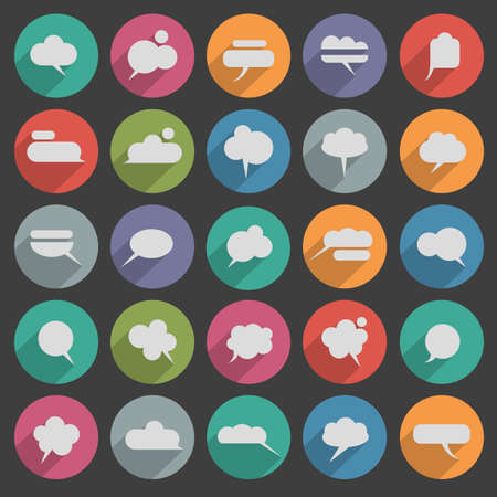 Message bubble icons with long shadow collection Vector