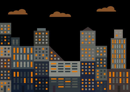 Evening city. illustration Vector