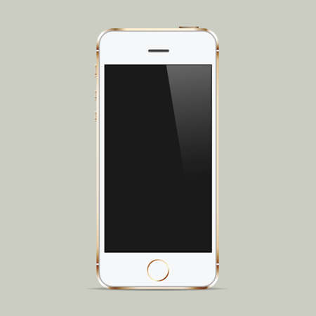 Realistic white mobile phone with blank screen.  Vector
