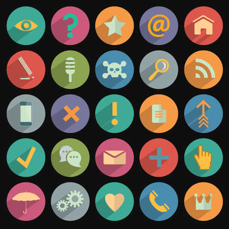 Different flat Icons for Web and Mobile Application. Vector set