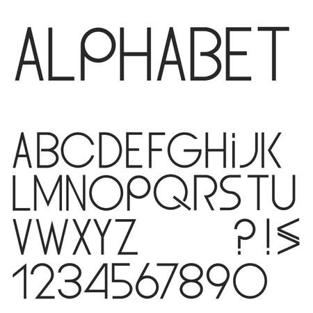 Elegant simple black font, numbers and punctuation marks. Vector set Vector