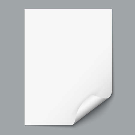 Empty paper sheet with curled corner.  Çizim