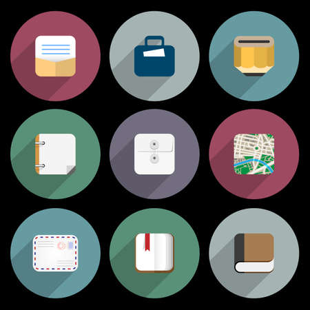 articulos oficina: Iconos planos de objetos de negocio, art�culos de oficina. Vector conjunto
