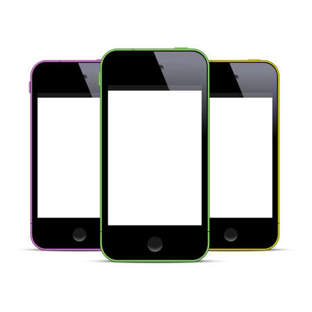 Three colored smartphones with blank screens.  Vector