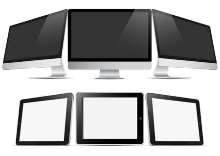 Three desktop computers and three tablets (pc).  Vector