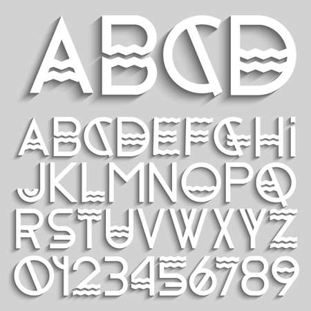White original alphabet letters and numbers. Vector set Stock Vector - 25855557