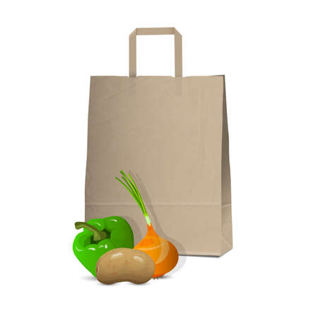 onions: Paper bag and fresh vegetables illustration
