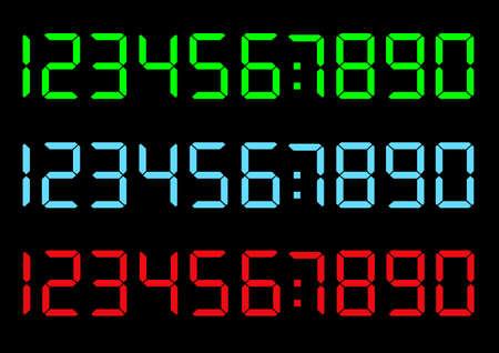 set of digital numbers Vectores