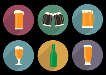 set of flat beer icons with long shadow
