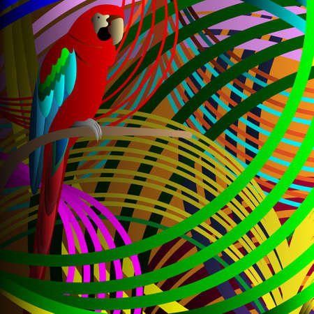cockatoo: Parrot in jungle Illustration