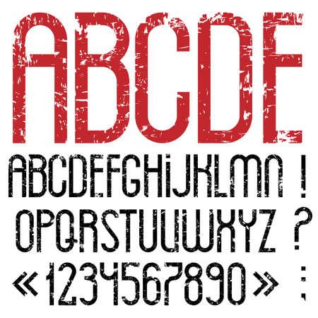 Las letras del alfabeto, números y signos de puntuación en el estilo grunge