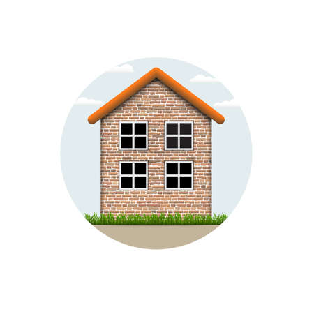 icon of brick village house Vector