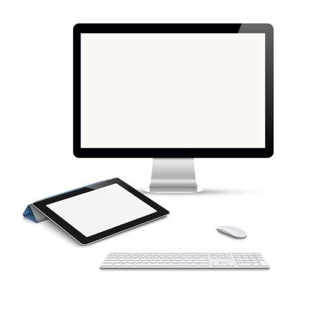 computador tablet: Realistic computador vector tablet, monitor com teclado e mouse