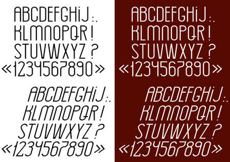 Slim font, numbers and punctuation marks. Vector