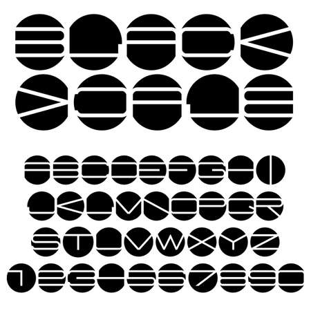 Unusual black and white alphabet.  Vector
