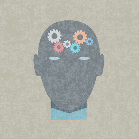 concentration gear: Creative vector illustration of gears in human head Illustration